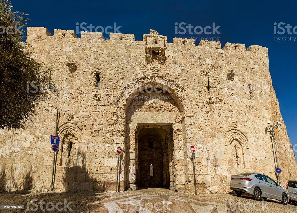 Zion Gate, Old City of Jerusalem, Israel stock photo
