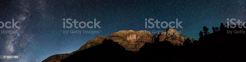 Zion in Moonlight with Milkyway stock photo