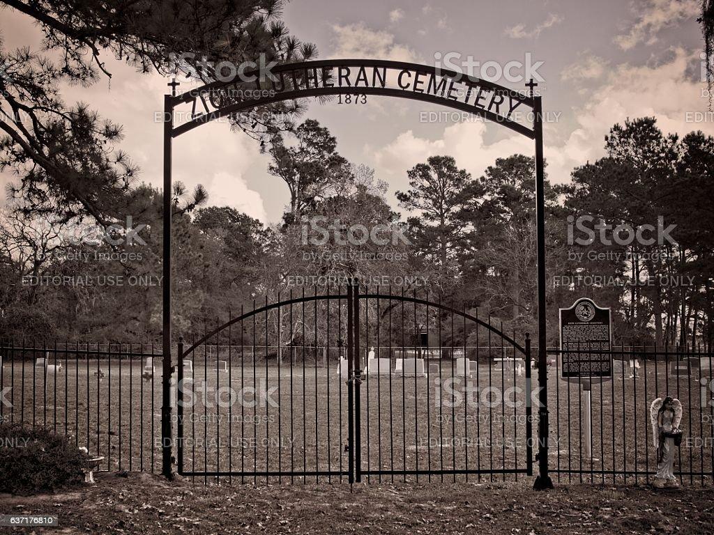 Zion Lutheran Cemetery 1873 Entrance stock photo