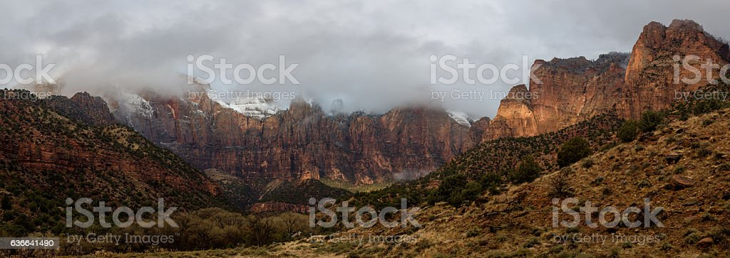 Zion misty morning mountains stock photo
