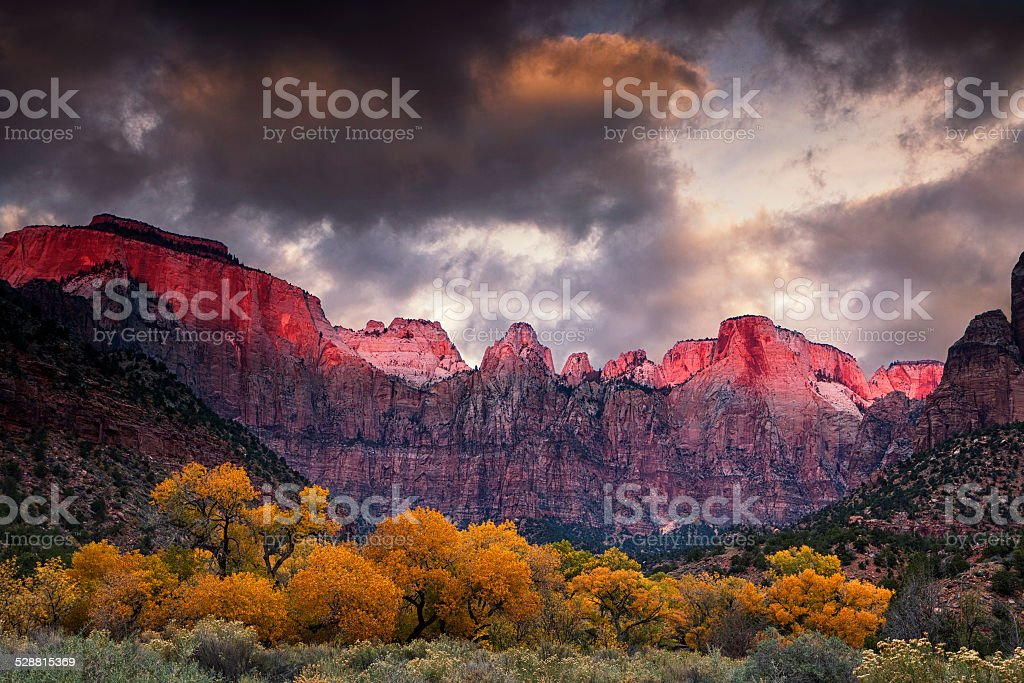 Zion National Park at Autumn stock photo