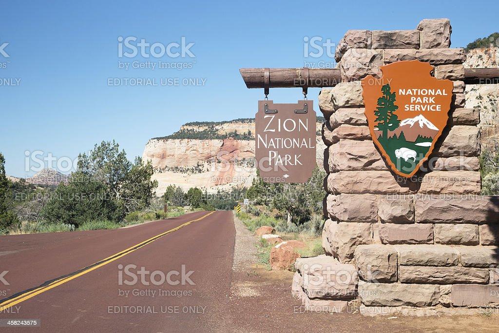 Zion National Park entrance stock photo