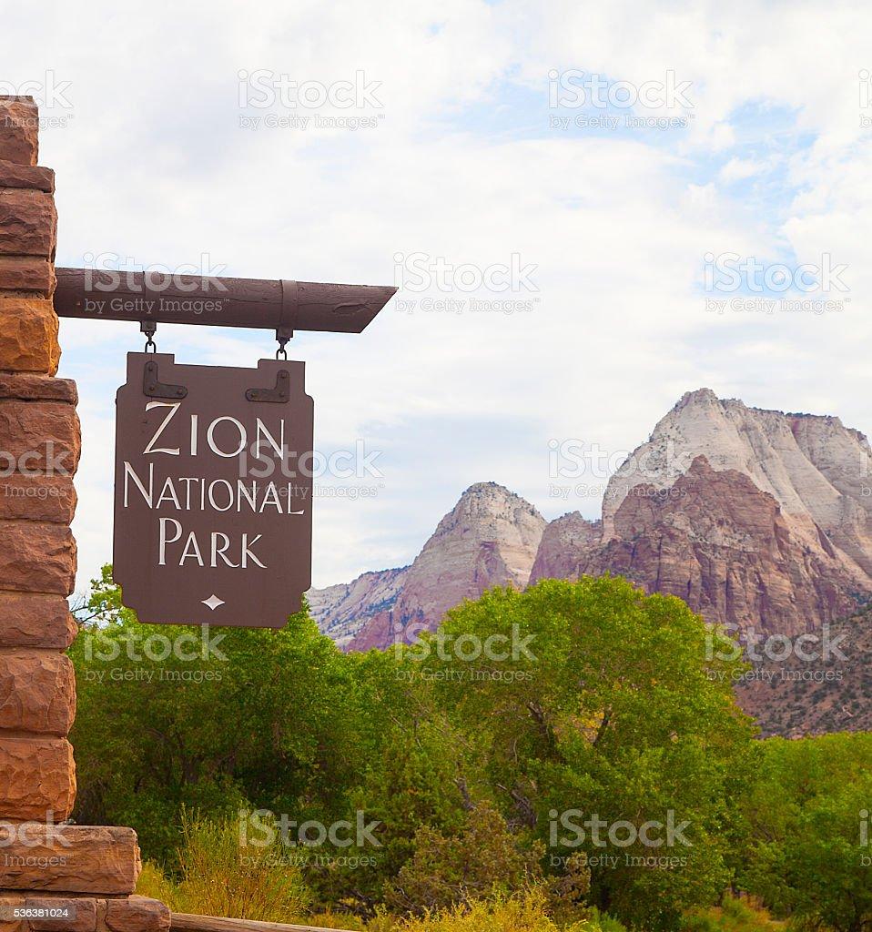 Zion National Park entrance sign, Utah stock photo