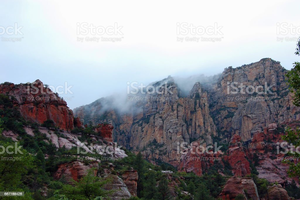 Zion National Park in the Clouds 02 stock photo