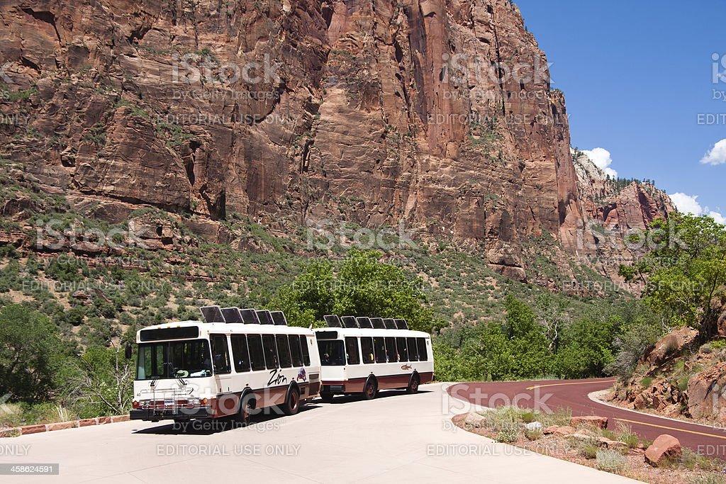 Zion National Park Shuttle Bus stock photo