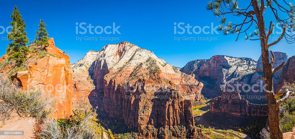 Zion National Park view from Angels Landing over Zion Canyon stock photo