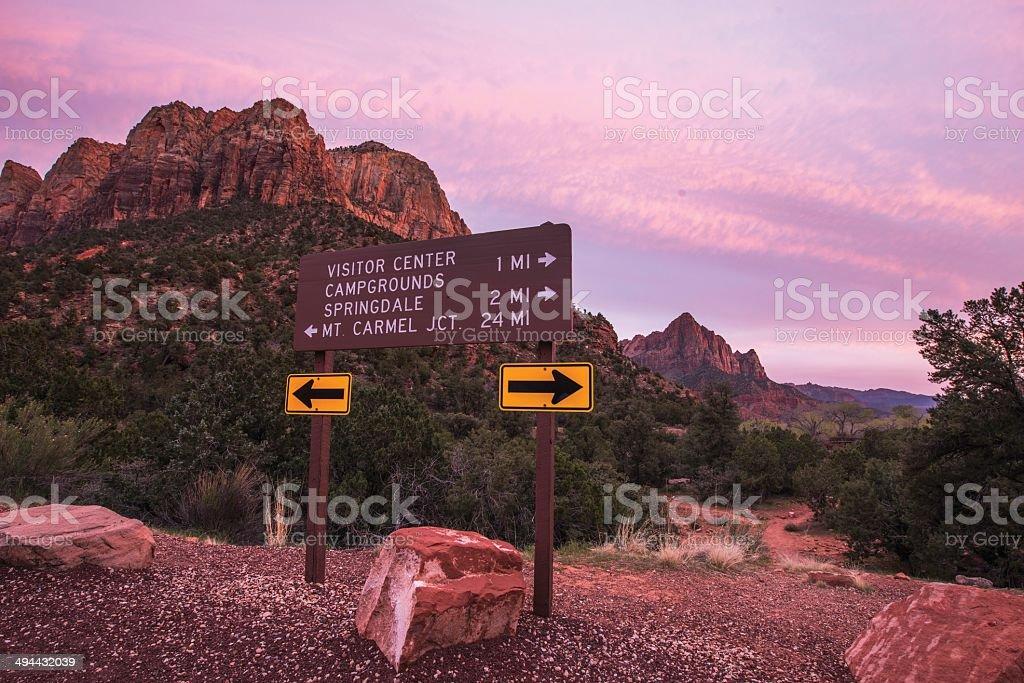 Zion Park Roads Crossing stock photo