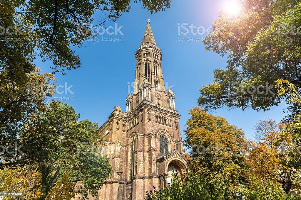 Zionskirche in Berlin with sunlight stock photo