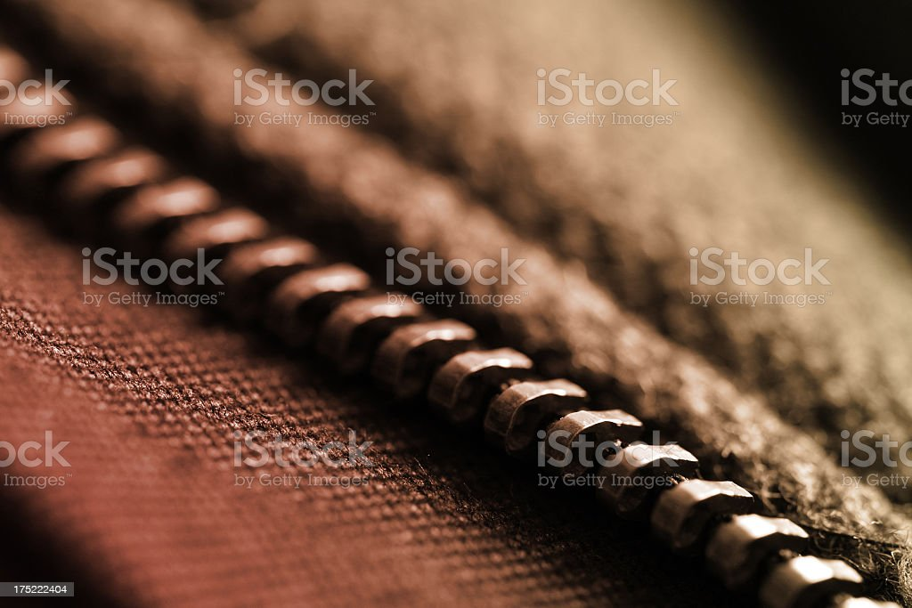 Zip and jacket macro royalty-free stock photo