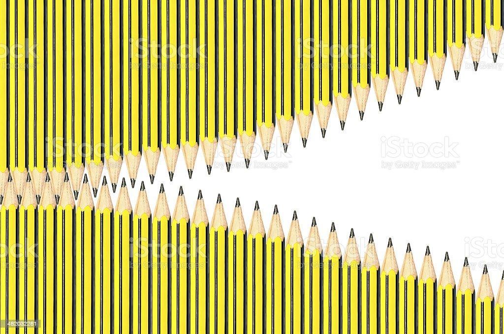 Zip from pencils horizontal view stock photo