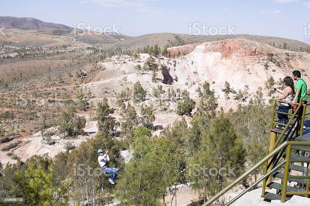 Zip line in Zacatecas stock photo