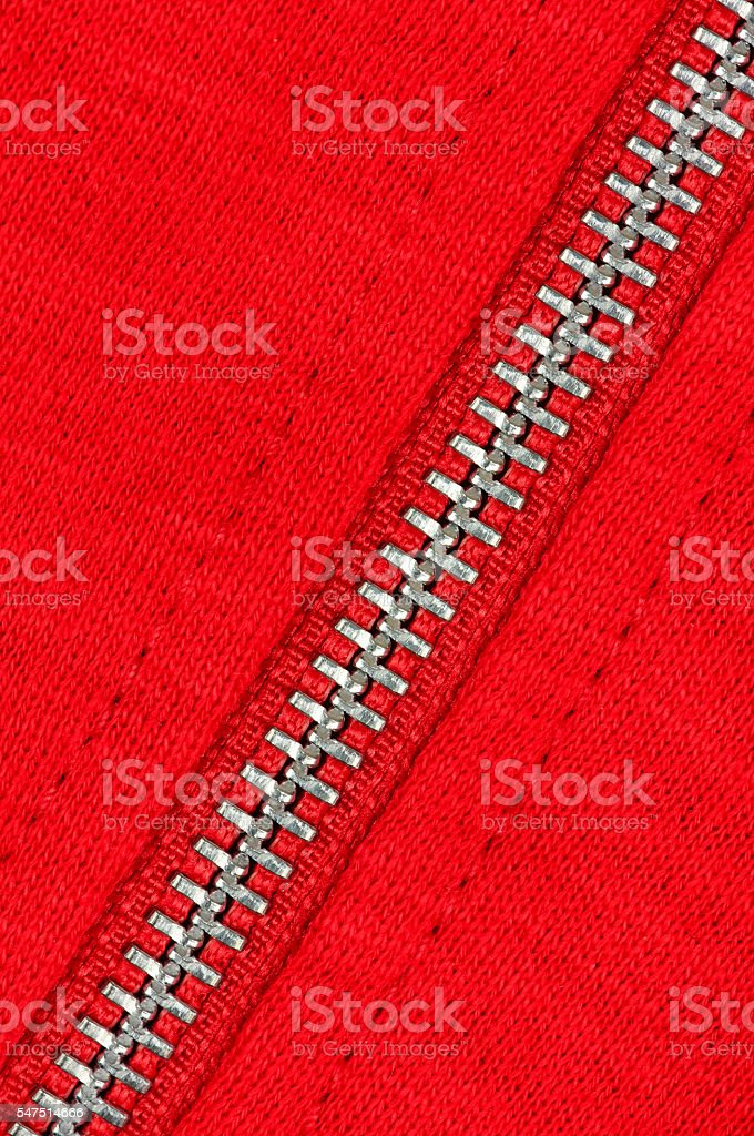Zip of a red sweater stock photo