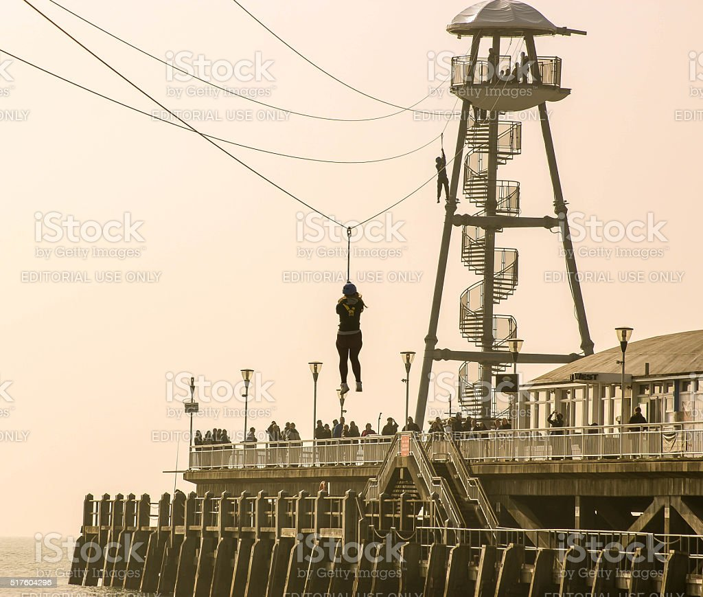 Zip Wire At Bournemouth Pier stock photo