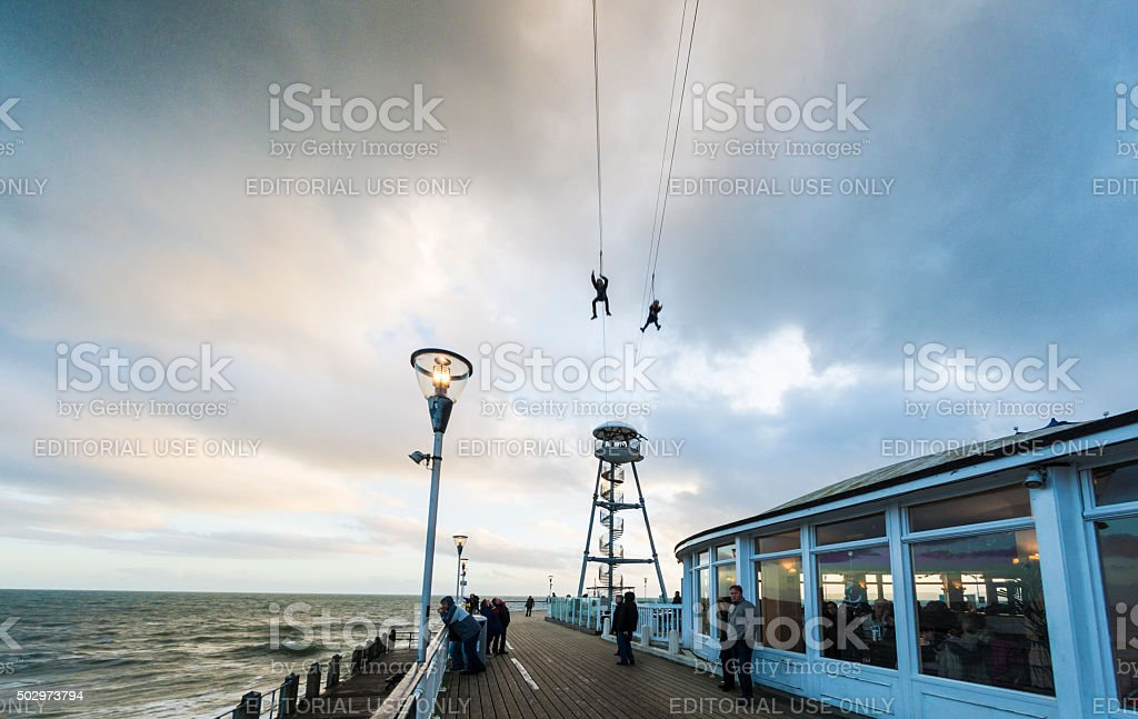 Zip Wire over Bournemouth Pier stock photo