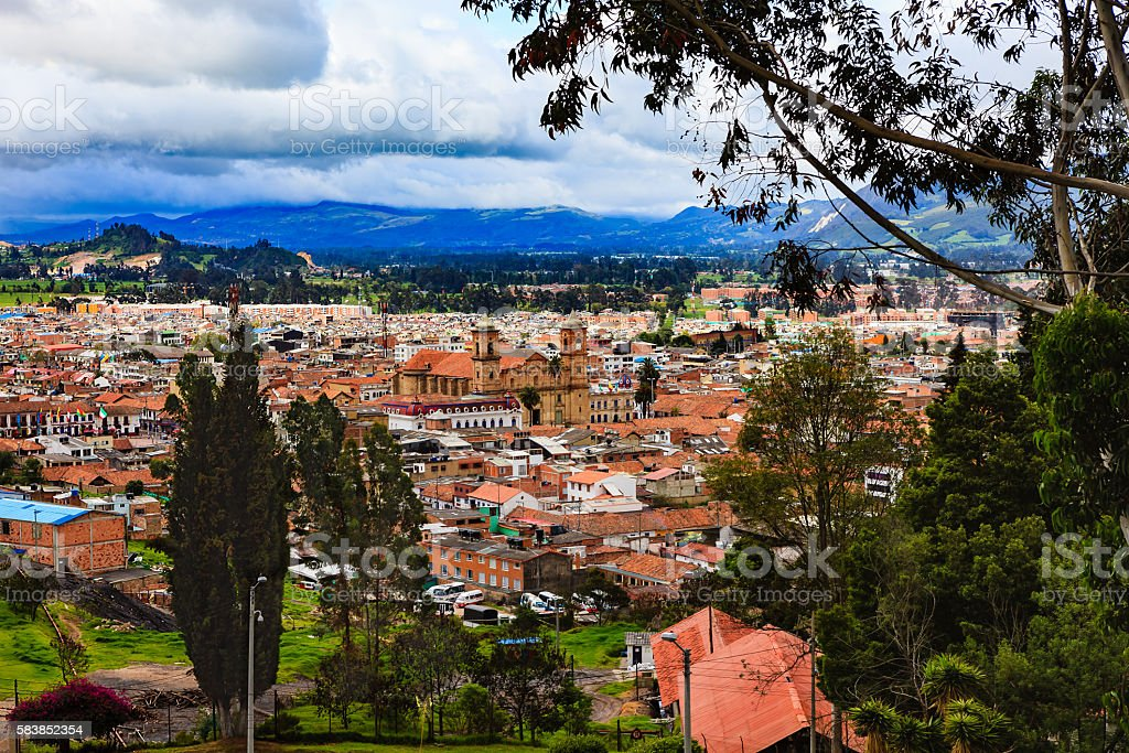 Colombia - Looking at Zipaquira town from higher elevation stock photo