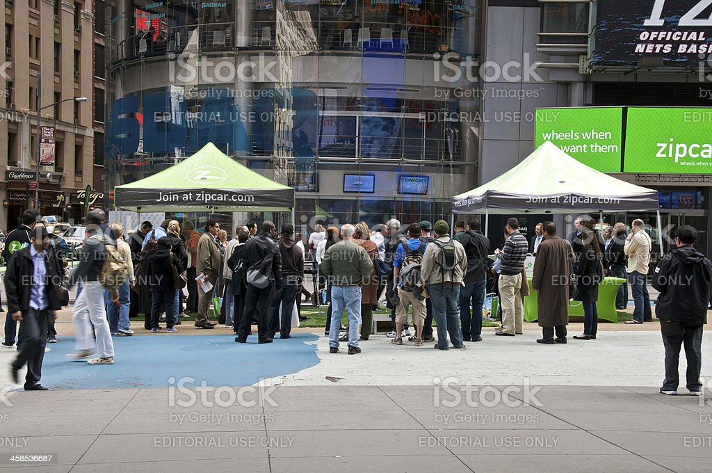 Zipcar IPO day display in Times Square, New York City stock photo