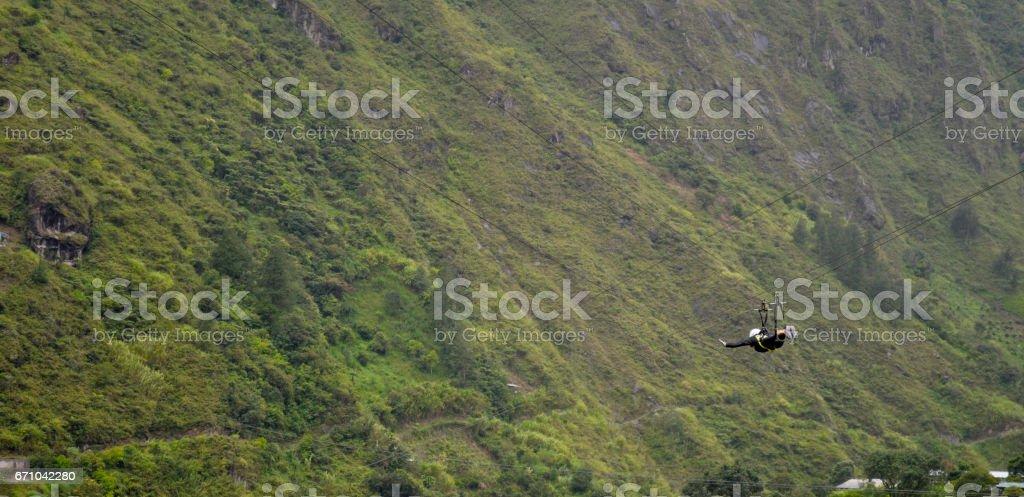zipline adventure in banos, Ecuador stock photo