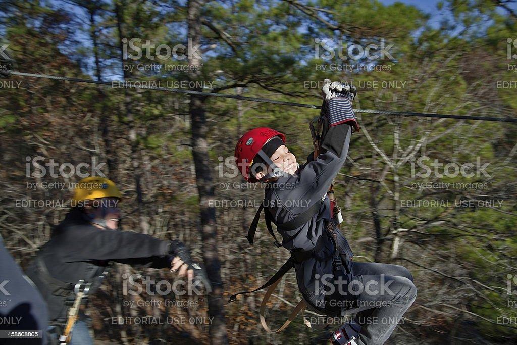 Zipline adventure launch stock photo