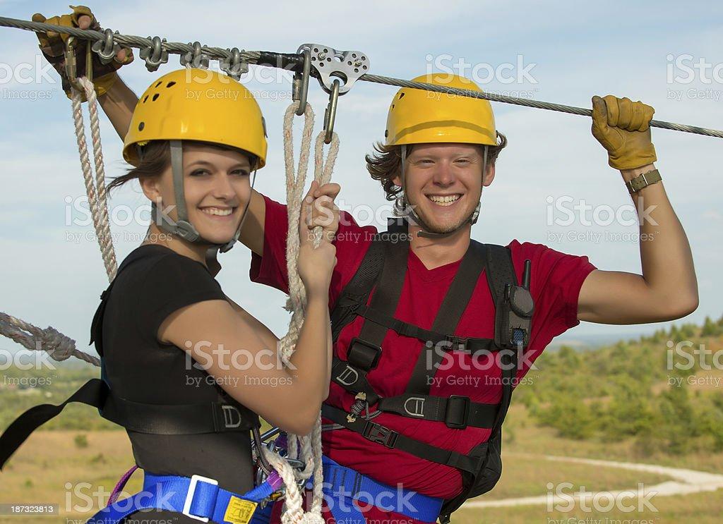 Zipline Riders royalty-free stock photo