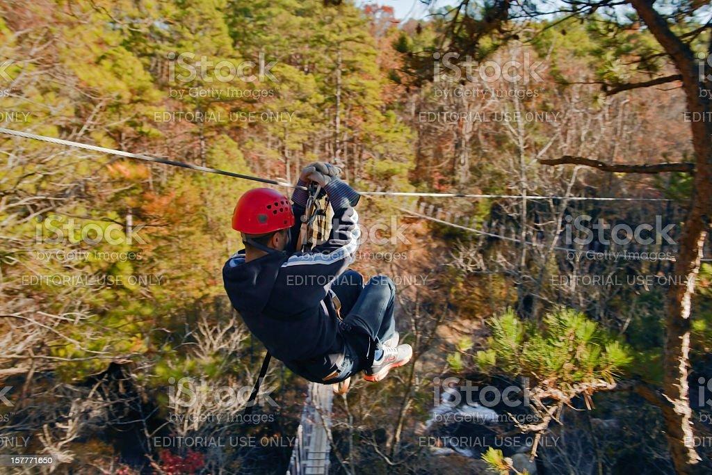 Ziplining over Carver's Falls stock photo