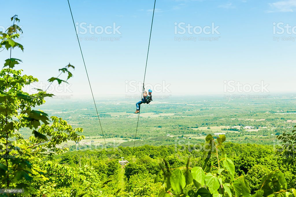 Zip-lining stock photo