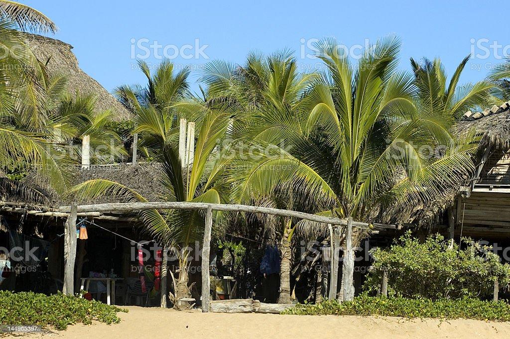 Zipolite Pacific Coast Huts Oaxaca state royalty-free stock photo