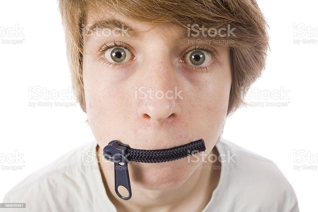 Zipped Lips stock photo