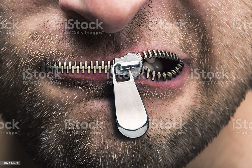 Zipped mouth stock photo