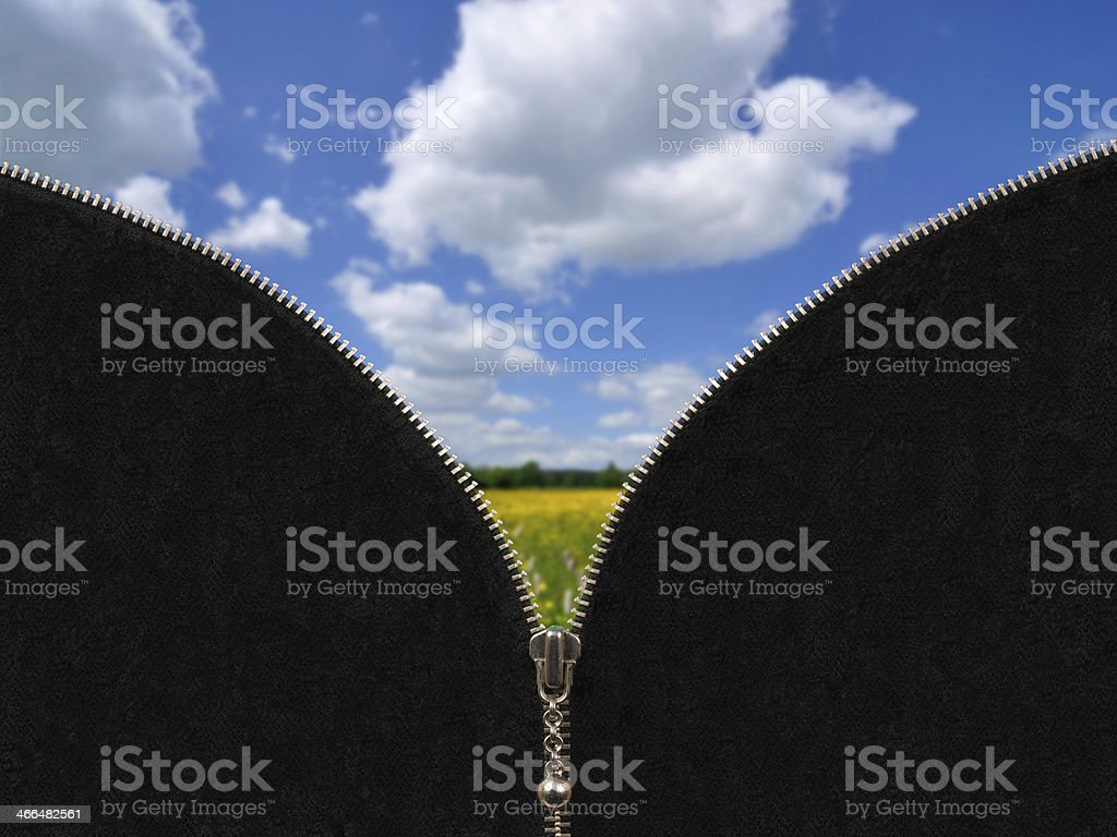 Zipper and rural spring landscape stock photo