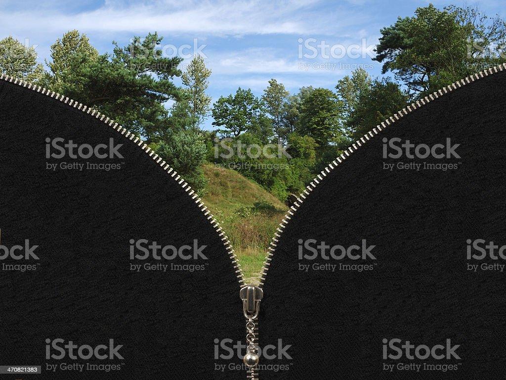 Zipper and rural summer landscape stock photo