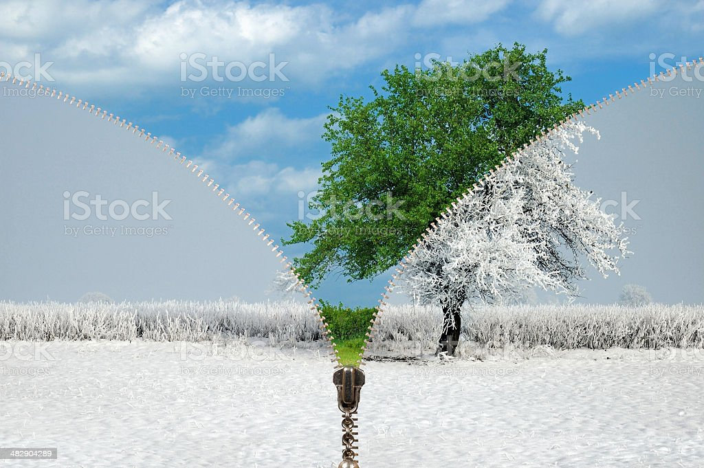 Zipper changing seasons stock photo