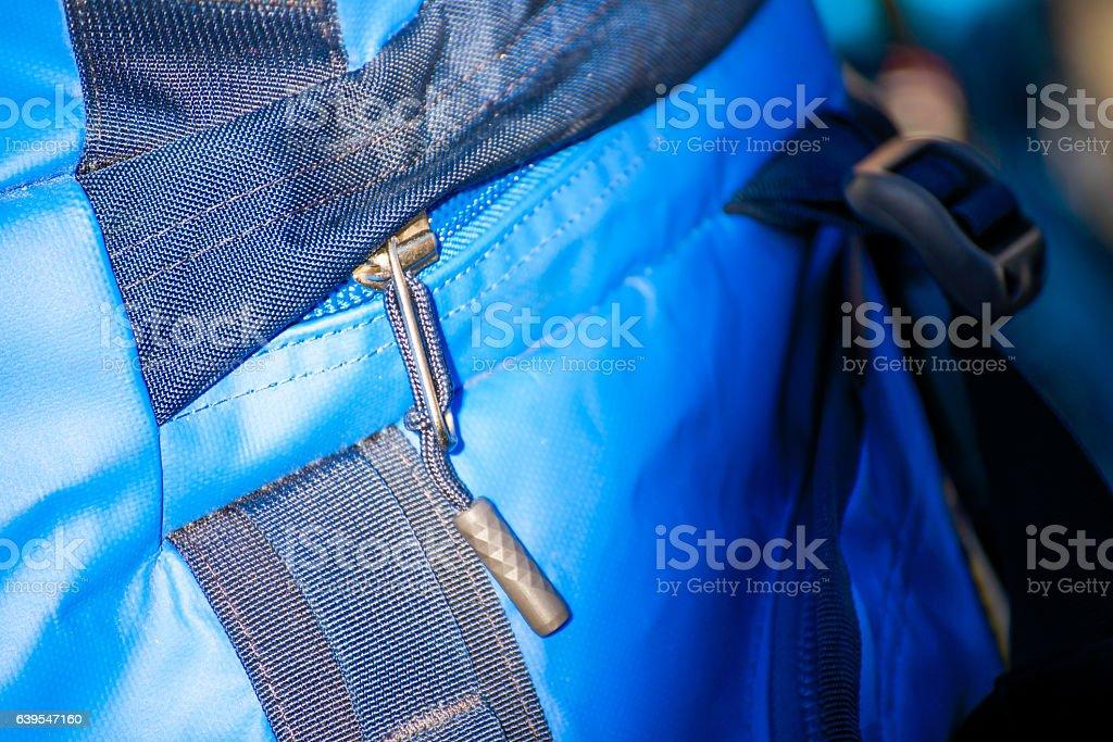 zipper for slide on blue backpack stock photo