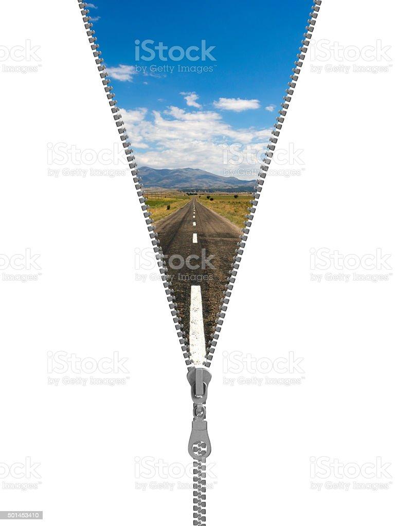 Zipper half open, apollo temple concept stock photo