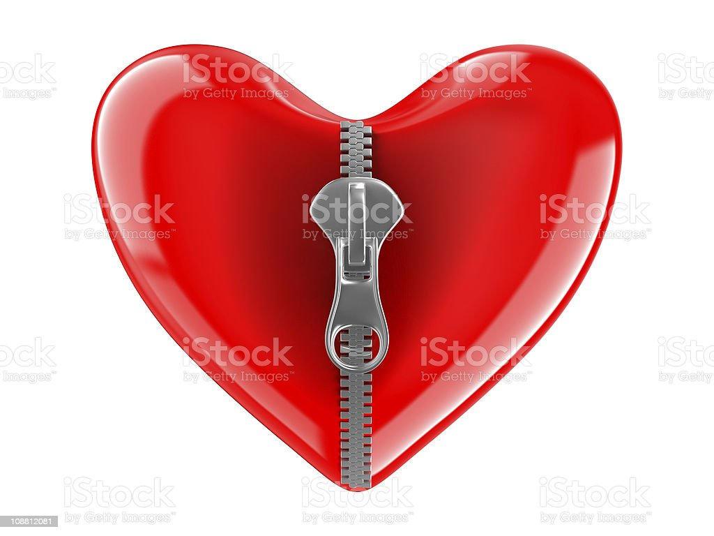 Zipper in heart. Isolated 3D image on white royalty-free stock photo