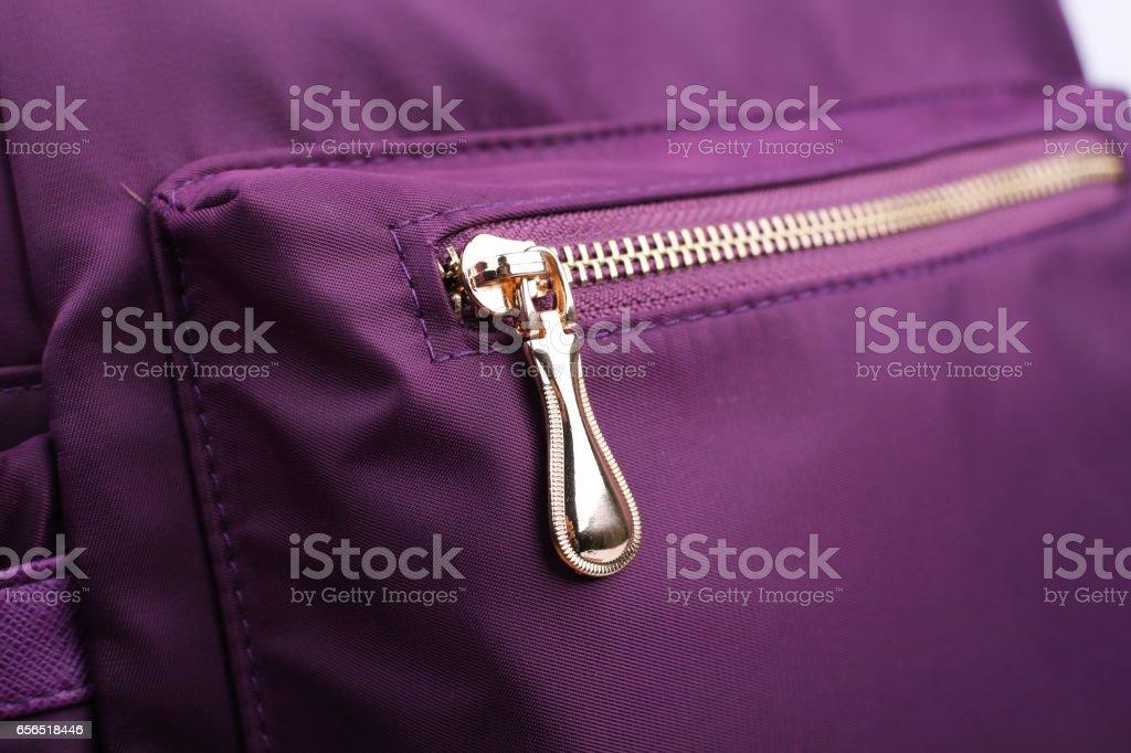 Zipper Of Backpack stock photo