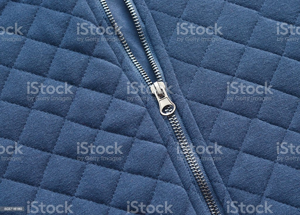 Zipper on a Quilted Coat stock photo