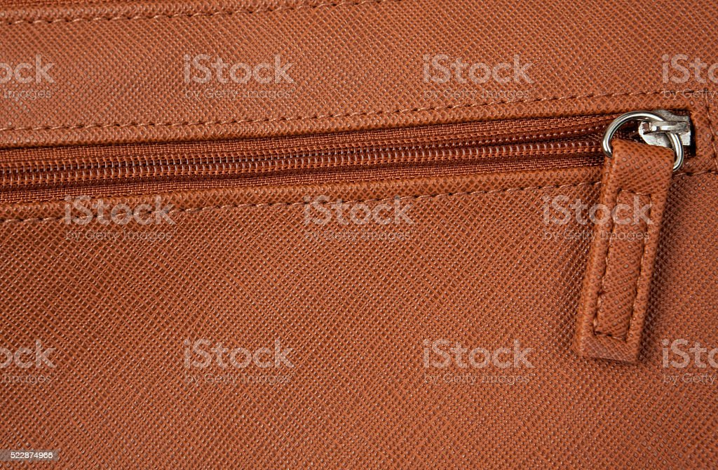 Zipper on Brown Leather Change Purse stock photo