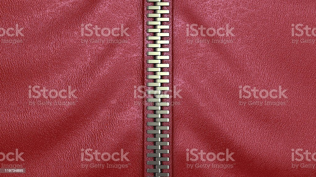 zipper on red leather stock photo