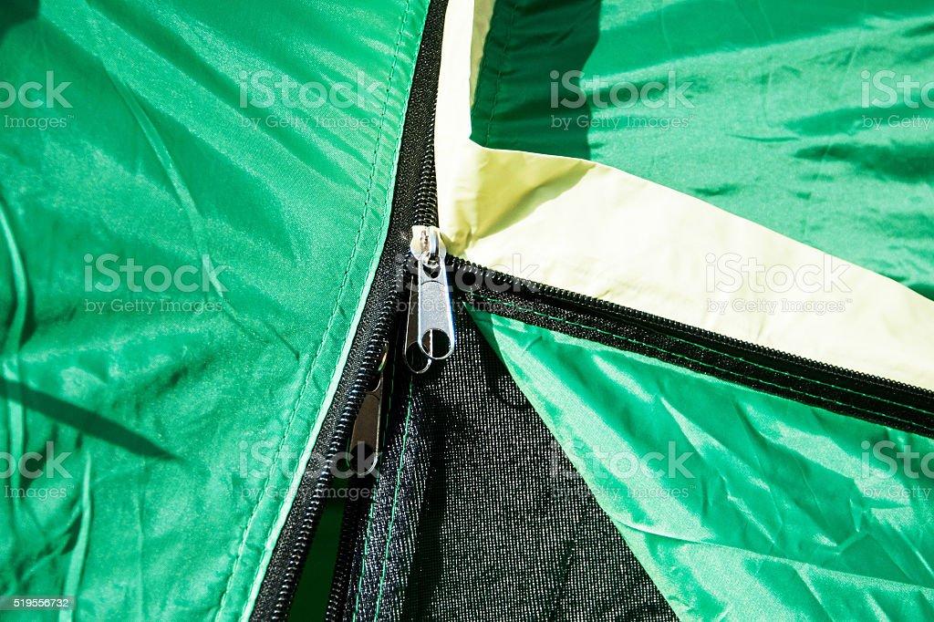 Zipper on the tent stock photo