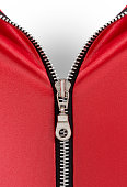 Zipper red clothing open on white background