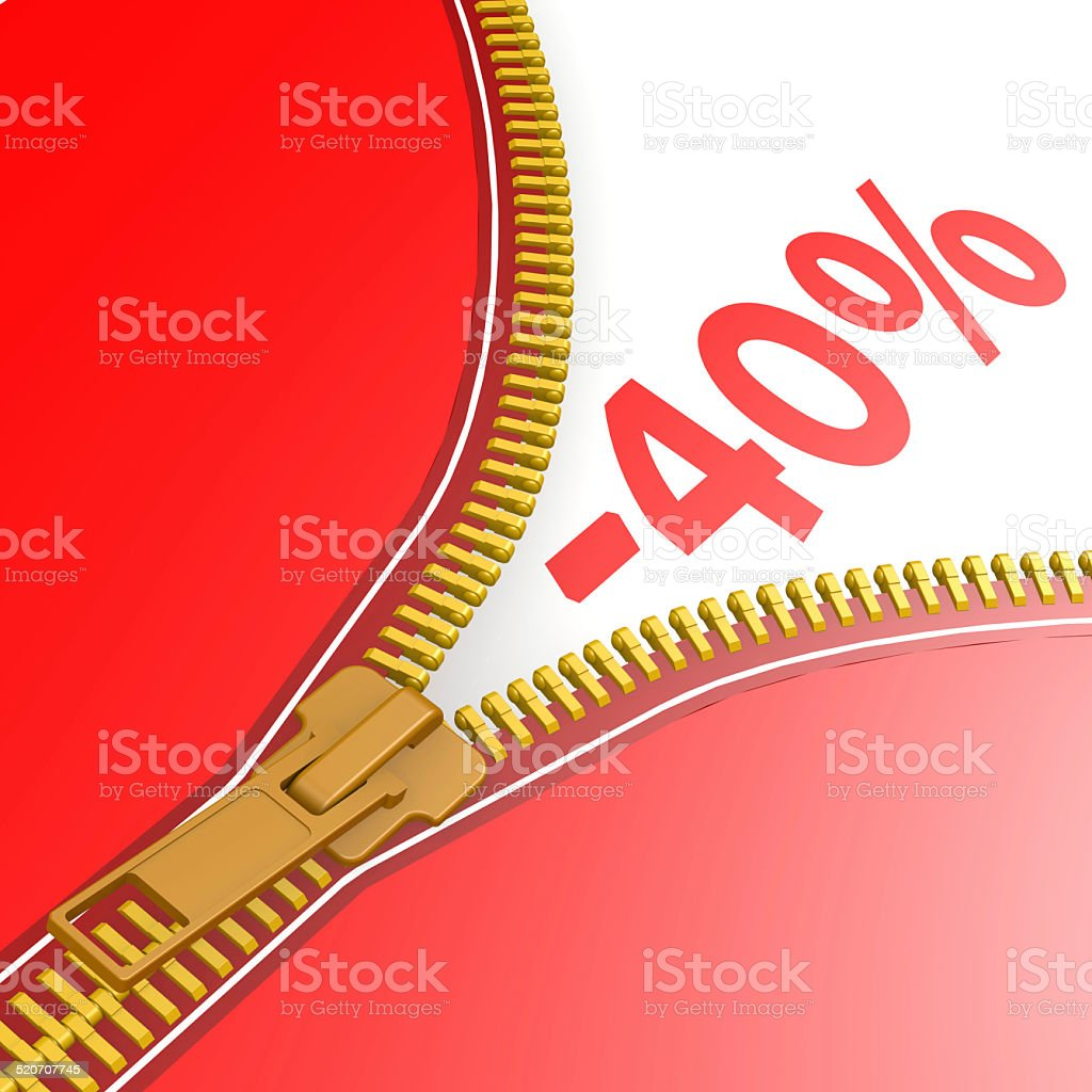 Zipper with forty percent off stock photo