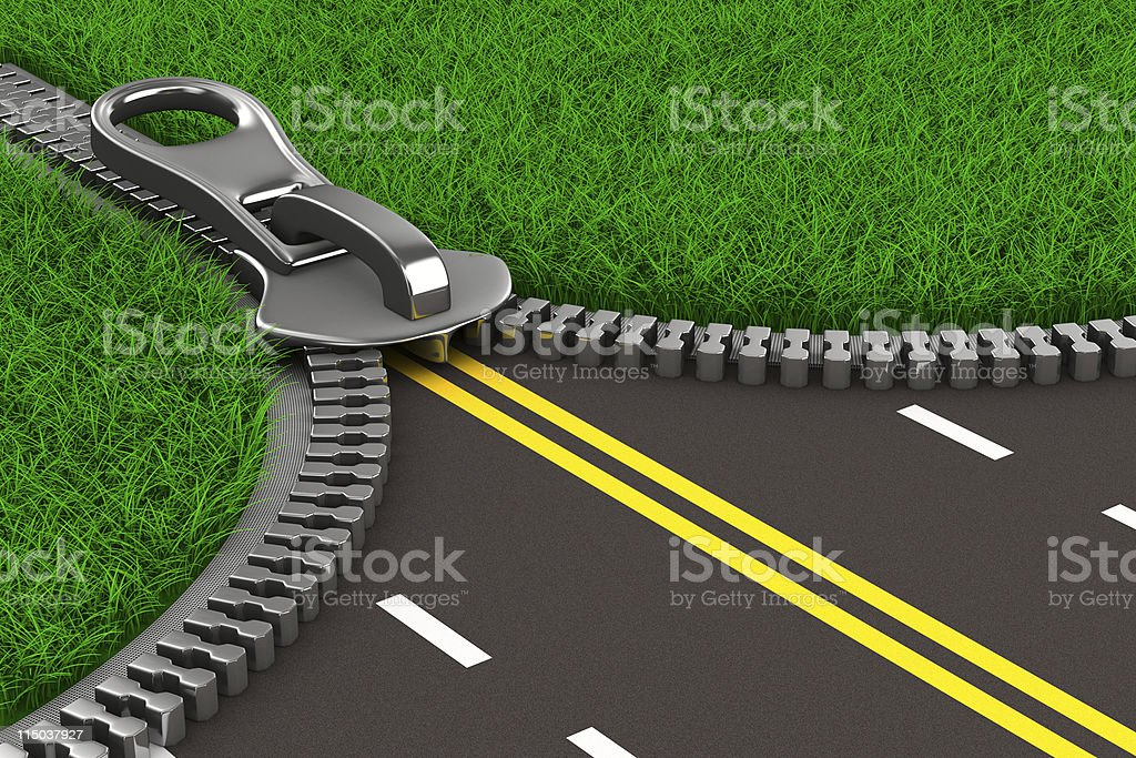 Zipper with grass and road. Isolated 3D image royalty-free stock photo