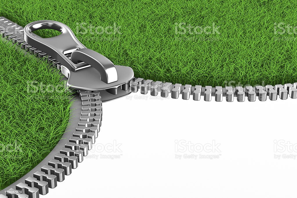 Zipper with grass on white background. Isolated 3D image royalty-free stock photo