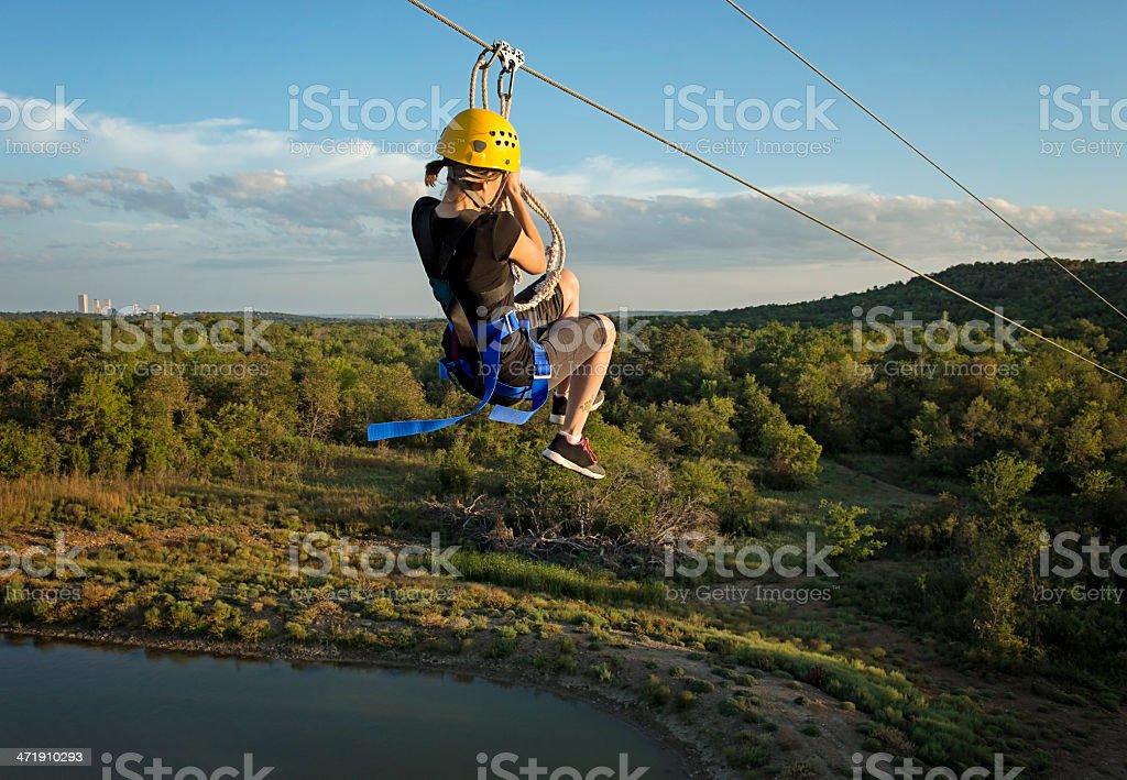Zipping Fun Girl stock photo