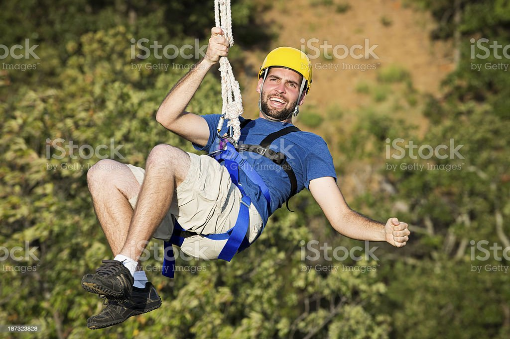 Zipping Guy stock photo