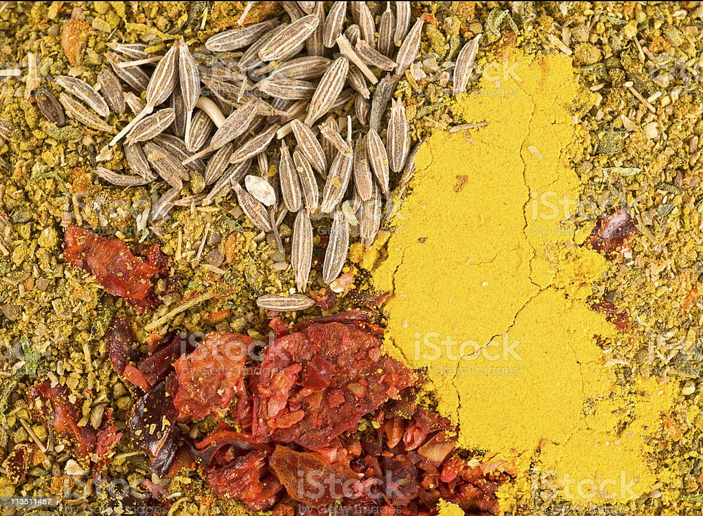 Zira seeds and curry stock photo