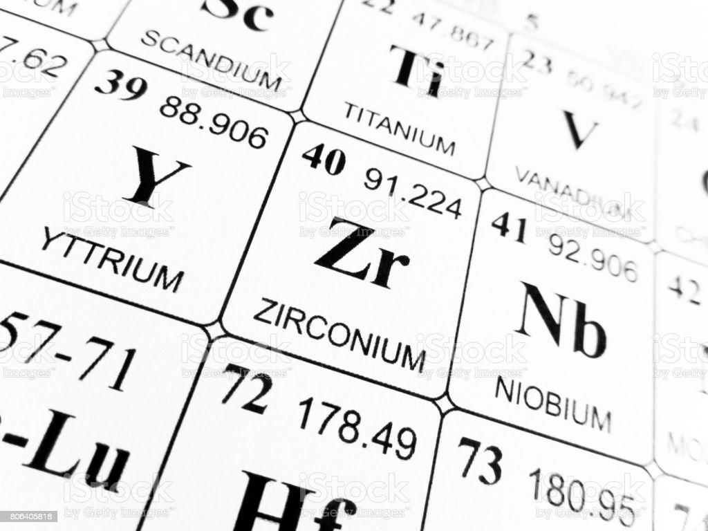 Zirconium on the periodic table of the elements stock photo laboratory number periodic table symbol italy zirconium gamestrikefo Images