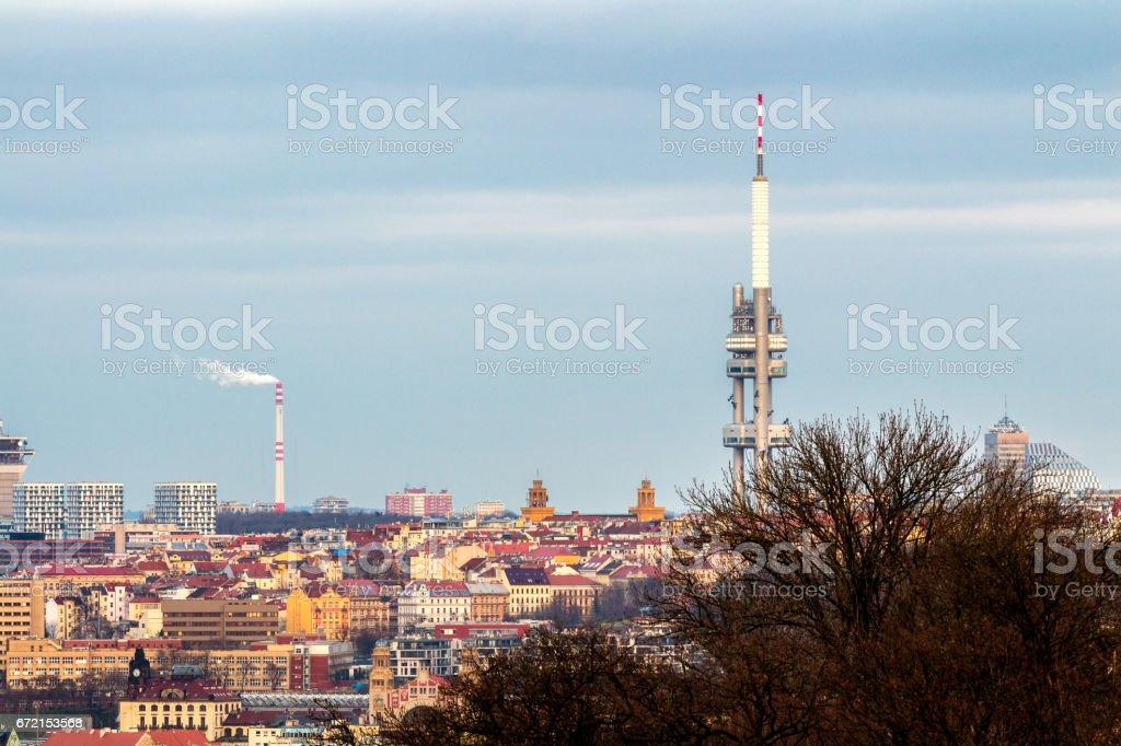 Zizkov Television Tower in Prague - Czech Republic stock photo