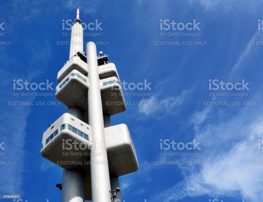 Zizkov Television Tower in Prague stock photo