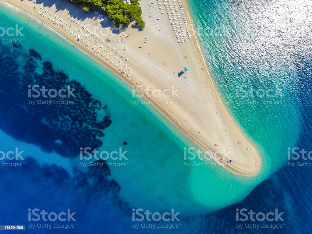 Zlatni rat beach, Bol, Brac island, Dalmatia, Croatia stock photo